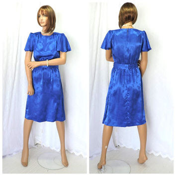 Vintage 70s royal blue silk secretary dress S Leslie Fay 1970s silk embossed mod retro blue career dress USA union made SunnybohoVintage