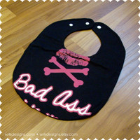 Bad Ass Baby Bib - Lips and Crossbones - Recycled T-Shirt Bib - Reversible - OOAK - Baby Girl