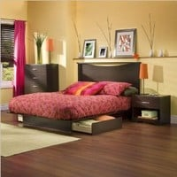 Amazon.com: South Shore Back Bay Dark Chocolate Queen Wood Storage Platform Bed 3 Piece Bedroom Set: Furniture & Decor