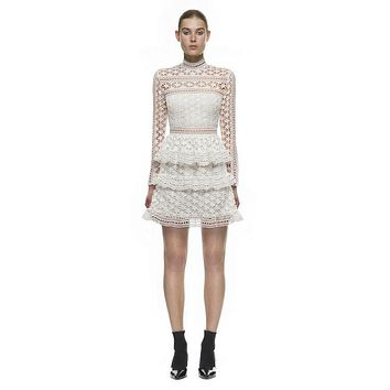 High-end custom portrait female clothing  2017 autumn/winter fashion runway style water soluble lace long sleeve dress