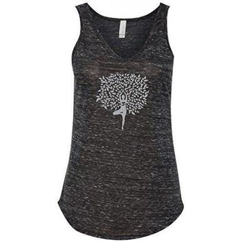 Yoga Clothing for You Womens Tree Pose Flowy V-Neck Tank Top