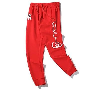 GUCCI x NY joint letter LOGO printing jogging trousers sports pants Red