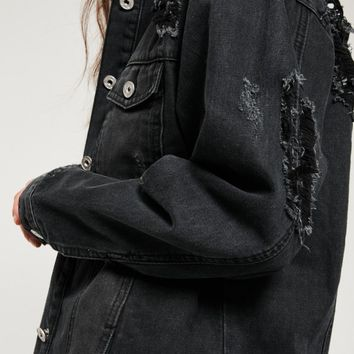 Missguided - Black Ripped Longer Length Denim Jacket