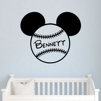 Wall Decals Name Mickey Mouse Bow Head Ears Vinyl Sticker Nursery Baseball SM89