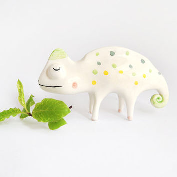 Chameleon Miniature. Maded in White Ceramic with Green and Yellow Polka Dots. Made To Order