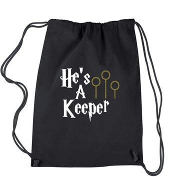 He's A Keeper Matching Quidditch Drawstring Backpack