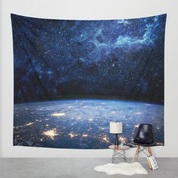 Earth and Galaxy Wall Tapestry by Space99 | Society6