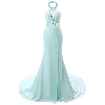 Mermaid Prom Gowns 2016 Floor Length Women Aqua Formal Dress Gowns Elegant Long Trumpet Prom Dresses