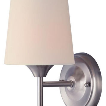 Parker Mews One-Light Indoor Wall Fixture, Brushed Nickel Finish with White Linen Fabric Shade