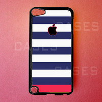 Ipod Touch 5 Case   Blue Striped Ipod Touch 5 Cover by DzinerCases