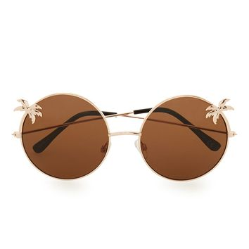 Round Brown Palm Tree Sunglasses | Topman