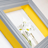 Framed Shadowbox Shelf - Yellow and Gray - Distressed, Modern Cottage