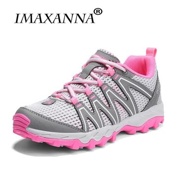 IMAXANNA Women Hiking Sneakers Summer Mesh Sport Shoes Unisex Rubber Soles Non-slip Climbong Shoes Outdoor Walking Sneake