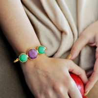 fashion bracelet purple and emerald green bracelet in textured gold frame handmade gemstone bracelet  israel
