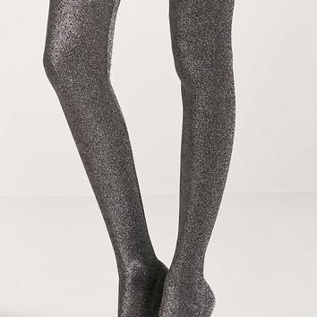 Metallic Knit Over-the-Knee Sock Boots