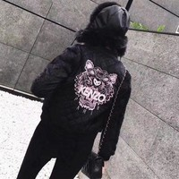 ICIKH3L Kenzo' Women Fashion Letter Tiger Head Embroidery Long Sleeve Rhombus Grid Cotton-padded Clothes Short Jacket Coat