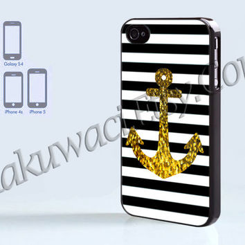 Anchor Gold Bling - iPhone 4 case - iPhone 4S case - Samsung Galaxy S3/S4 - iPhone case - Hard Plastic - Case Soft Rubber Case