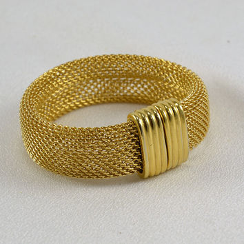 Gold Mesh Bracelet Rare Rau Klikit Closure - 1960s 70s Haute Couture Fashion