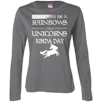 It's Gonna be a Rainbows and Unicorns black and white 3588 LAT Ladies' LS Cotton T-Shirt