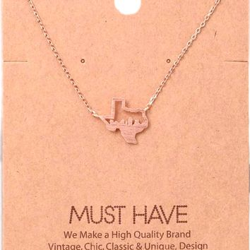Must Have-Cutout Texas State Pendant Necklace, Rose Gold