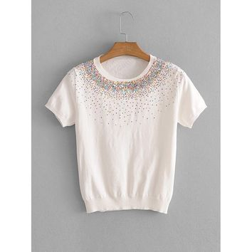 Sequin Detail Knit Tee