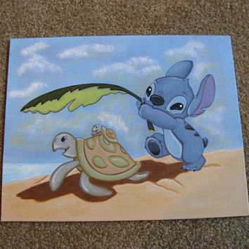 Disney Lilo & Stitch hand painted acrylic on canvas panel