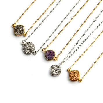 Petite Druzy Necklace - Drusy Necklace - Layering Necklace - Statement Necklace - Gold or Silver Necklace - Bridesmaid Necklace
