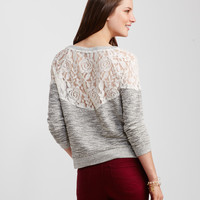 Long Sleeve Sheer Lace-Back Knit Top