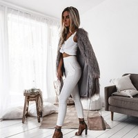 CENTENERA Faux Fur Coat - Grey