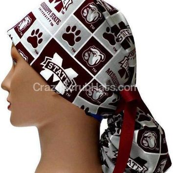 Women's Ponytail Surgical Scrub Hat Cap in Mississippi Bulldogs