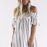 In Your Eyes Navy Striped Off the Shoulder Dress