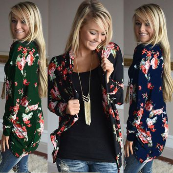Womens Floral Long Sleeve Cardigan Loose Sweater Outwear Casual Jacket Coat Cape