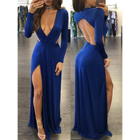 Blue Plunging Cut-Out Evening Dress