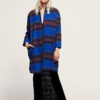 Free People Womens Long and Lean Wool Overcoat - Blue Plaid