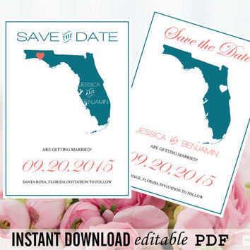 Florida State Map Save the Date Editable PDF Templates - Florida Peacock State Map Save the Date Printable PDF Templates - DIY You Print
