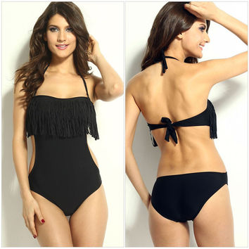One-piece Tassel Bathing Suit Swimwear