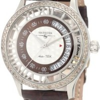 Swisstek SK52710G Limited Edition Automatic Chocolate Diamond Watch With Crocodile Strap, Sapphire Crystal And Sapphire Exhibition Caseback