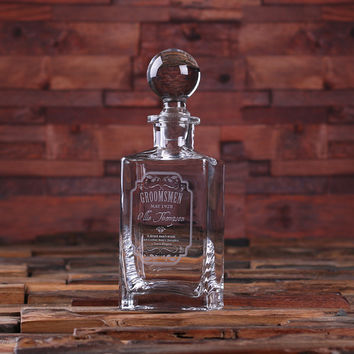 Personalized Whiskey Decanter with Global Bottle Lid – C