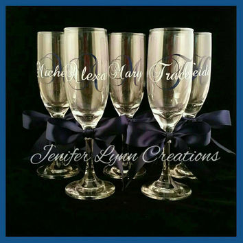Personalized Champagne Flutes For Wedding, Bridesmaids, Bachelorette, Birthday, Toasting and so much more