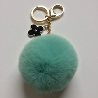 Candy Green fur pom pom keychain REX Rabbit fur pom pom ball with flower bag charm