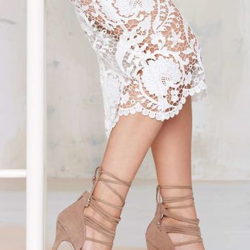 Nasty Gal Wrap Me Up Suede Heel