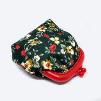 Fabric Coin Purse - Red Plastic Frame