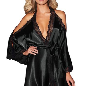 Black Satin Lace Robe