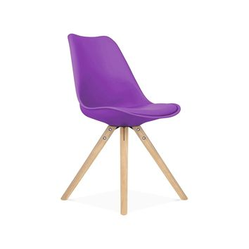 Viborg Purple Mid Century Side Chair Natural Base (Set of 2)