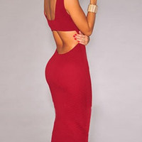 Red Halter Cut-Out Bodycon Dress