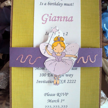 Fairy Princess Birthday Invitation, Fairy birthday invitation,Childrens birthday invitation, Girls birthday invitation