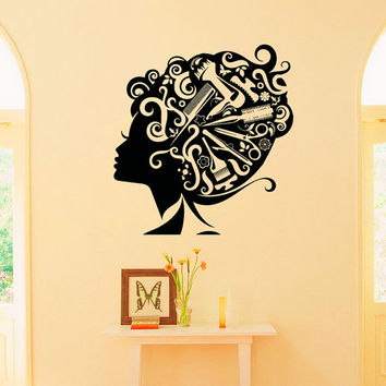 Wall Decals Woman Girl Hair Vinyl Sticker Decal Hairdressing Beauty Salon Decor Bedroom Living Room Interior Design Home Decor Murals Z802