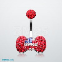 American Flag Bow-Tie Tiffany Inspired Belly Button Ring