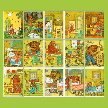 Russian Folk Tale «The Three Bears» (Artist V. Beltyukov) - Set of 16 Vintage Postcards - Printed in the USSR, «Fine Art», Moscow, 1990