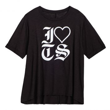 LADIES BLACK I LOVE TS TEE